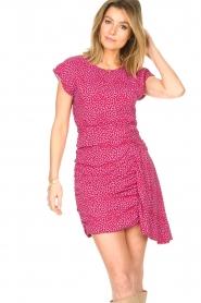 Kocca |  Printed drape dress Kimani | red   | Picture 4