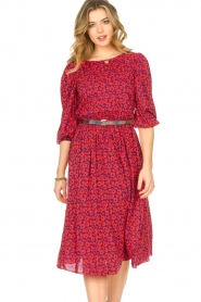 Kocca |  Floral midi dress Malti | red  | Picture 4