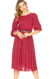 Kocca |  Floral midi dress Malti | red  | Picture 2