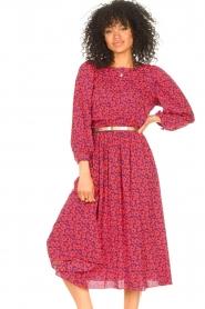 Kocca |  Floral midi dress Malti | red  | Picture 5