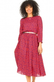 Kocca |  Floral midi dress Malti | red  | Picture 4