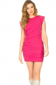 Kocca |  Drapped dress with shoulder pads Rajani | pink  | Picture 2
