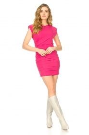 Kocca |  Drapped dress with shoulder pads Rajani | pink  | Picture 3