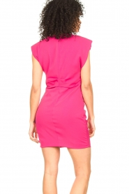 Kocca |  Drapped dress with shoulder pads Rajani | pink  | Picture 8