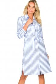Kocca |  Striped midi dress Kimoni | blue  | Picture 4