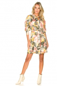 Kocca :  Dress with leaf print Amba | green - img3