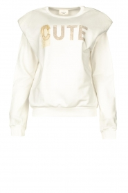 Kocca |  Printed sweater with rhinestones Anurati | natural   | Picture 1