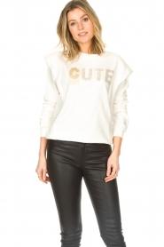 Kocca |  Cotton printed sweater with rhinestones Anurati | natural   | Picture 2