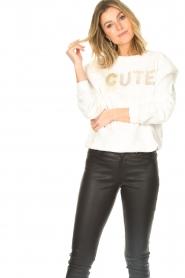 Kocca |  Cotton printed sweater with rhinestones Anurati | natural   | Picture 4