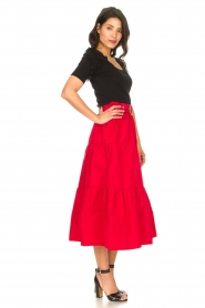 Liu Jo |  Taffeta maxi skirt Tess | red  | Picture 5