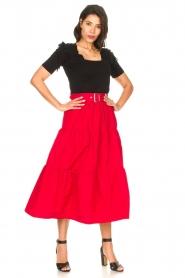 Liu Jo |  Taffeta maxi skirt Tess | red  | Picture 3