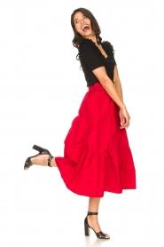 Liu Jo |  Taffeta maxi skirt Tess | red  | Picture 4