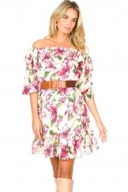 Liu Jo |  Off shoulder floral dress Nora | pink  | Picture 4