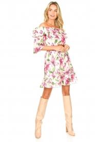 Liu Jo |  Off shoulder floral dress Nora | pink  | Picture 3