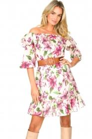 Liu Jo |  Off shoulder floral dress Nora | pink  | Picture 5