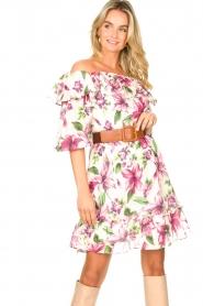 Liu Jo |  Off shoulder floral dress Nora | pink  | Picture 2
