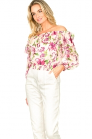 Liu Jo |  Cotton top with boat neck Nova | pink   | Picture 5