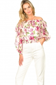 Liu Jo |  Cotton top with boat neck Nova | pink   | Picture 4