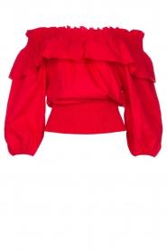 Liu Jo |  Cotton off-shoulder top Bandera | red   | Picture 1