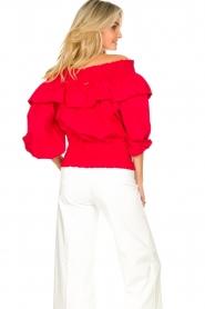 Liu Jo |  Cotton off-shoulder top Bandera | red   | Picture 6