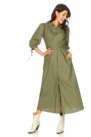 Liu Jo |  Poplin maxi dress Mari | green  | Picture 5