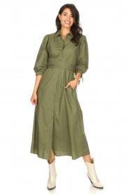 Liu Jo |  Poplin maxi dress Mari | green  | Picture 4