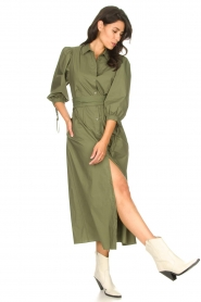 Liu Jo |  Poplin maxi dress Mari | green  | Picture 3