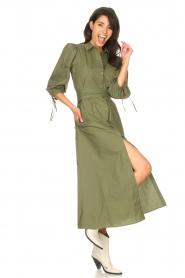 Liu Jo |  Poplin maxi dress Mari | green  | Picture 2