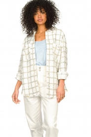 Liu Jo |  Checkered bouclé blouse Mae | natural  | Picture 2