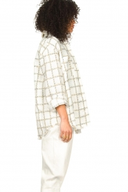 Liu Jo |  Checkered bouclé blouse Mae | natural  | Picture 5