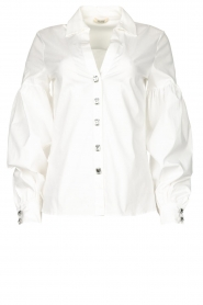 Fracomina |  Cotton blouse with diamond details Sky | white  | Picture 1
