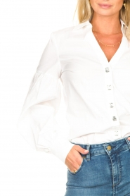 Fracomina |  Cotton blouse with diamond details Sky | white  | Picture 8