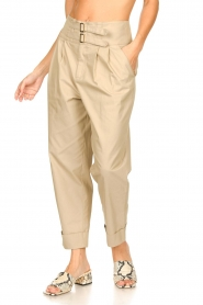 Fracomina |  High waist trousers Cato | beige  | Picture 4