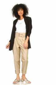 Fracomina |  High waist trousers Cato | beige  | Picture 3