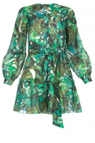 Fracomina |  Cotton dress with leaf print Fina | green  | Picture 1