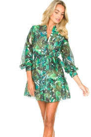 Fracomina |  Cotton dress with leaf print Fina | green  | Picture 4