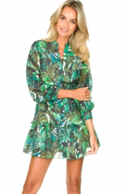 Fracomina |  Cotton dress with leaf print Fina | green  | Picture 2