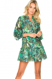 Fracomina |  Cotton dress with leaf print Fina | green  | Picture 5