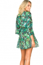 Fracomina |  Cotton dress with leaf print Fina | green  | Picture 7