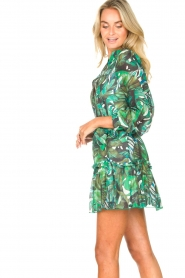 Fracomina |  Cotton dress with leaf print Fina | green  | Picture 6