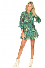 Fracomina |  Cotton dress with leaf print Fina | green  | Picture 3