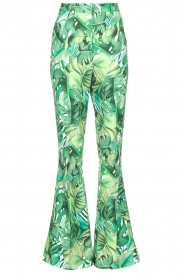 Fracomina |  Flared pants with leaves print Mowi | green  | Picture 1