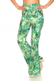 Fracomina :  Flared pants with leaves print Mowi | green - img4