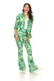 Fracomina :  Flared pants with leaves print Mowi | green - img3