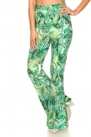 Fracomina :  Flared pants with leaves print Mowi | green - img5