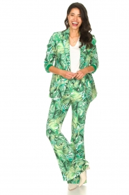 Fracomina :  Flared pants with leaves print Mowi | green - img2