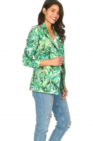 Fracomina |  Blazer with leaves print Wooze | green  | Picture 7