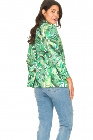 Fracomina |  Blazer with leaves print Wooze | green  | Picture 9