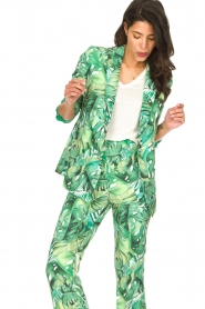 Fracomina |  Blazer with leaves print Wooze | green  | Picture 5