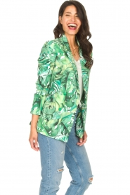 Fracomina |  Blazer with leaves print Wooze | green  | Picture 8